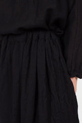 Black Drawstring Wool Skirt