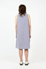 Square Neck Bengal Stripe Broadcloth Dress