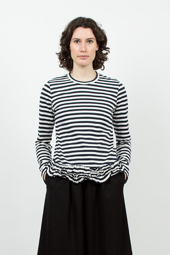 Navy/White Stripe Ruffle T-shirt