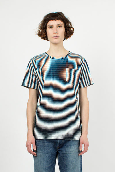 Indigo Stripe Boat Neck T-Shirt