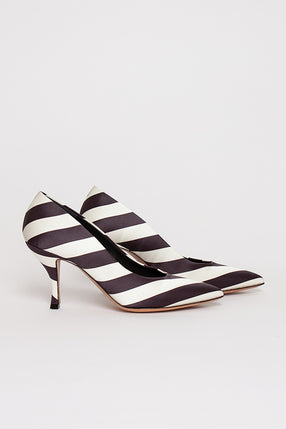 Striped Pointed Toe Pump