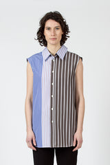 Panel Stripes Sleeveless Shirt