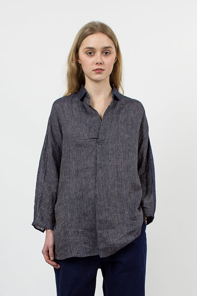 Indigo Linen Bamboo Stripe Good Morning Pull Shirt