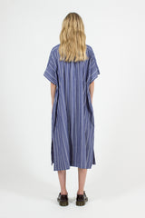 Blue Cotton Stripe SS Shirt Dress