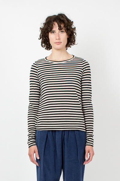 Ecru and Black Stripe Top