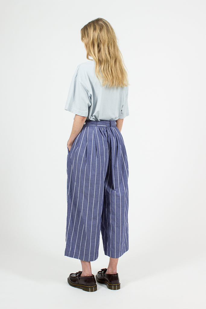 Blue Cotton Stripe Baggy Pants