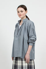 Celadon Blue String Surplice Shirt