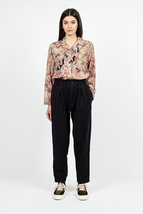 Sylvian Trouser Navy Floral Jacquard