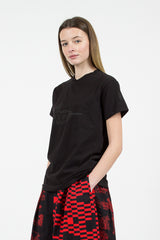 "Black ""Decoy"" Printed Cross Neck T-shirt"