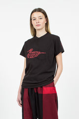 "Red ""Decoy"" Printed Cross Neck T-shirt"