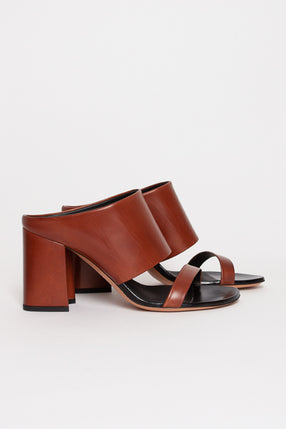 Leather Heeled Tan Sandal