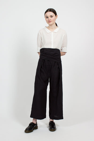 Black Irish Linen Thai Style Wide Pants