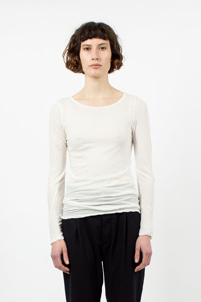 White Round Neck Top