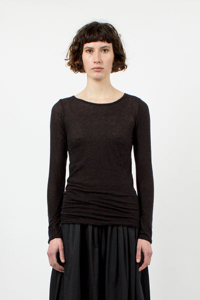 Dusty Black Round Neck Top