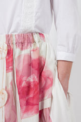 Pink/White Ribbon Print Tiered Skirt