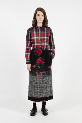 Black/Red/Grey Floral Glen Track Skirt