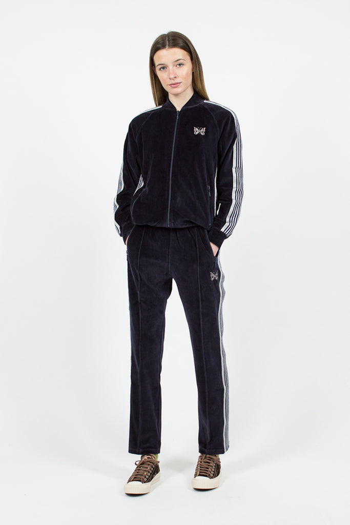 Navy Velour Ribbed Collar Track Jacket