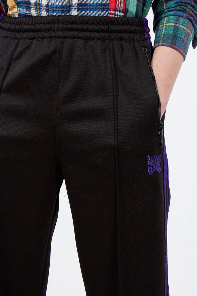 Black Poly Smooth Track Pants