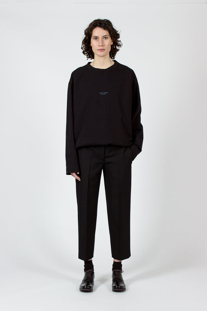 Trea Black Structured Wool Trouser