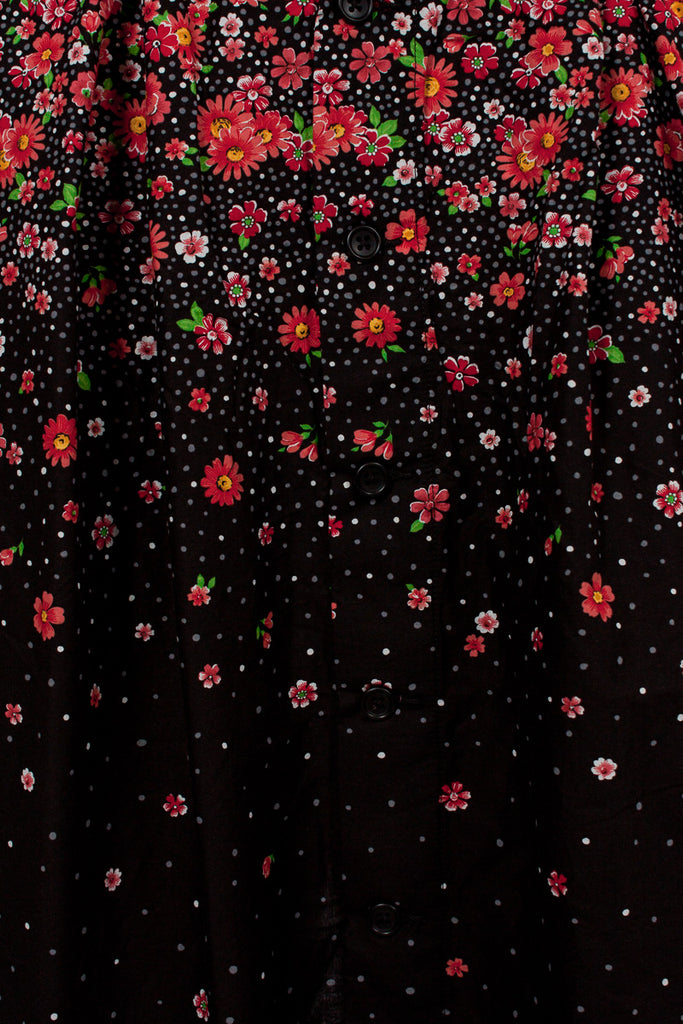 Red/Black Big Floral Lawn Tuck Skirt