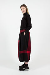 Black/Red Big Plaid Worsted Wool Flannel Tuck Skirt