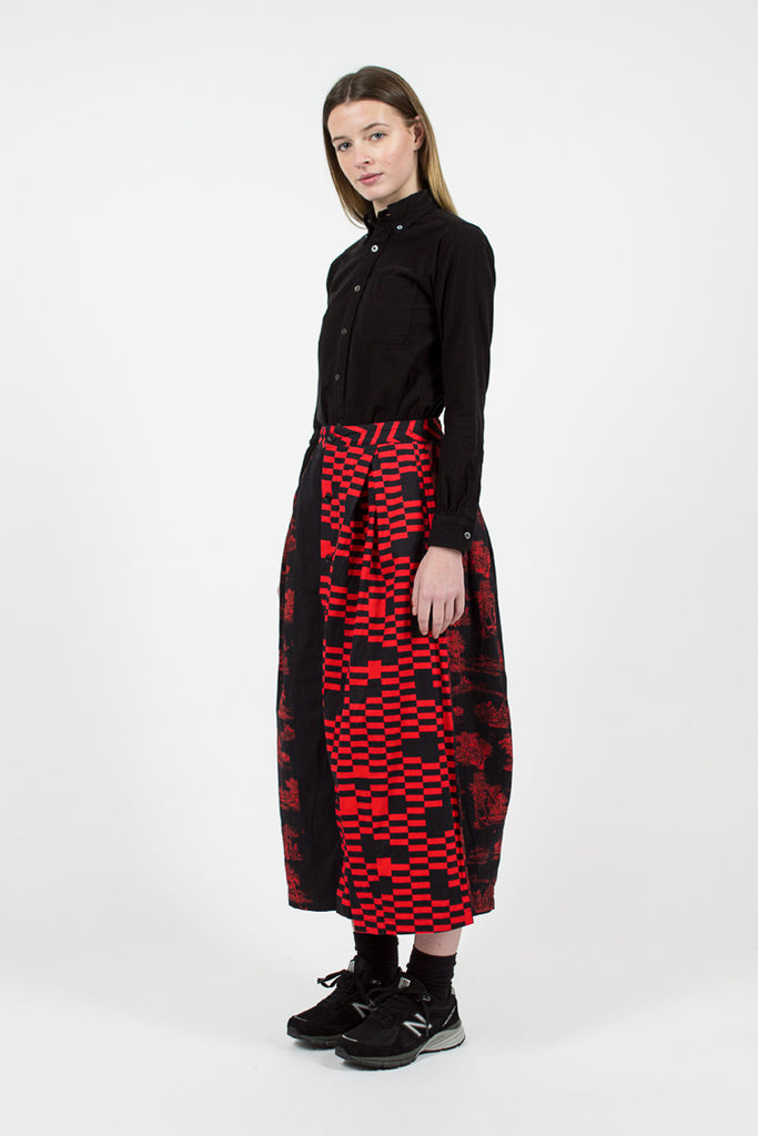 Red/Black Noma t.d Tuck Skirt