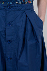 Dark Blue Superfine Poplin Tuck Skirt