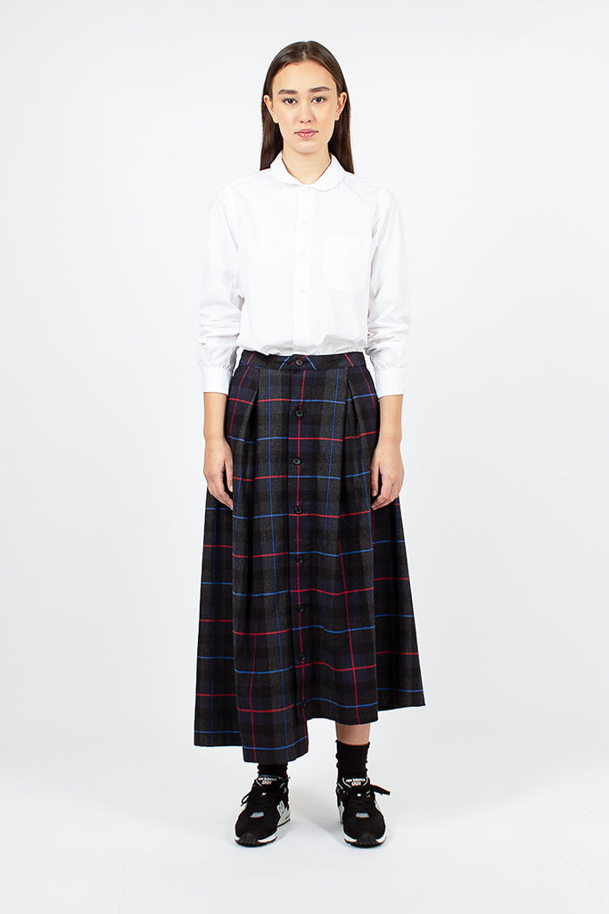 Tuck Skirt Dark Grey/Blue/Red Poly Wool Plaid