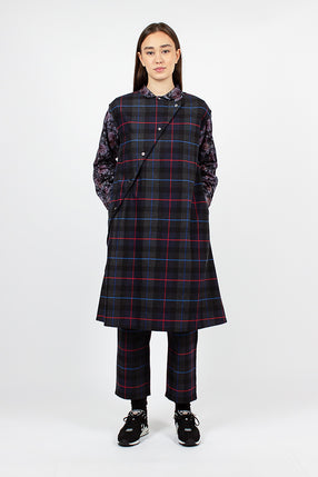 Tunic Dress Dark Grey/Blue/Red Poly Wool Big Plaid