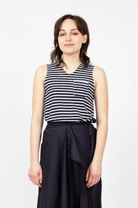 Stripe Jersey U Neck Top