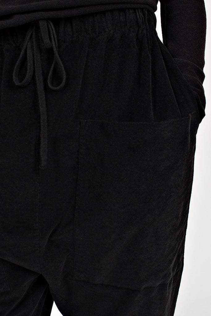 U2380 Corduroy Front Pocket Trousers Black