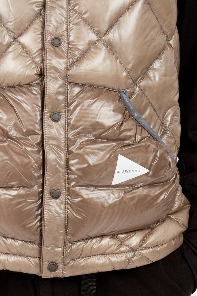 Beige Diamond Stitch Down Vest