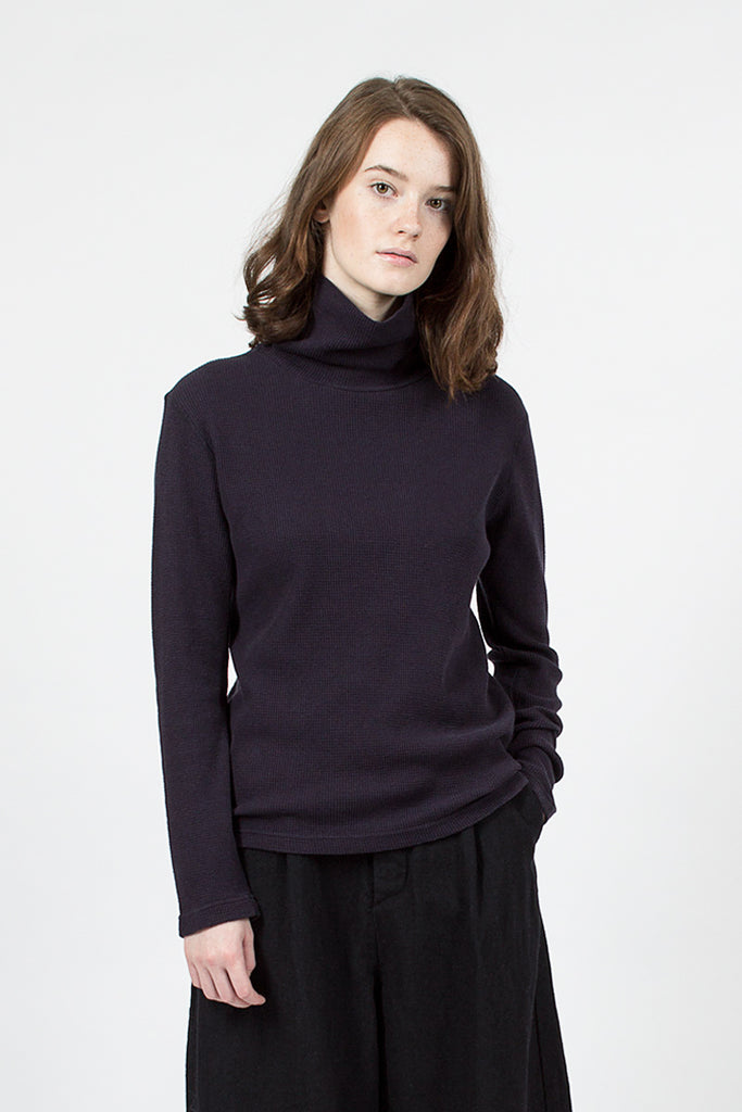 Navy Roll Neck Top
