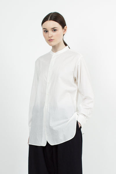 Dusty White Band Collar Long shirt