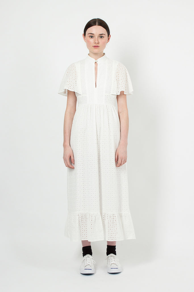 White Broderie Anglaise Cape Dress