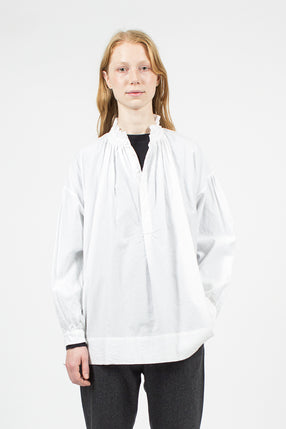 Cloud White Frill Collar Surlplice Shirt