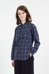 Navy Brushed Printed Plaid Flannel Work Shirt