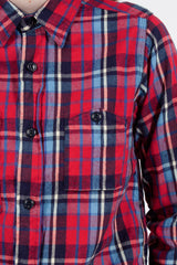 Red/Blue Brushed Plaid Work Shirt