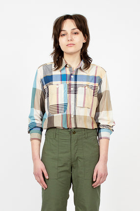 Khaki Big Madras Plaid Work Shirt