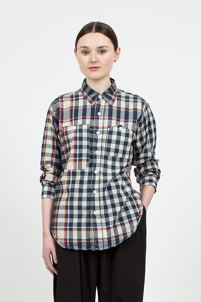 Navy/Red/Yellow Big Plaid Work Shirt