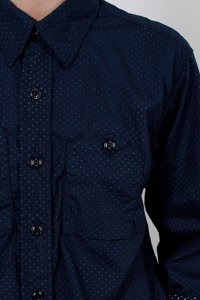 Navy Polka Dot Lawn Work Shirt