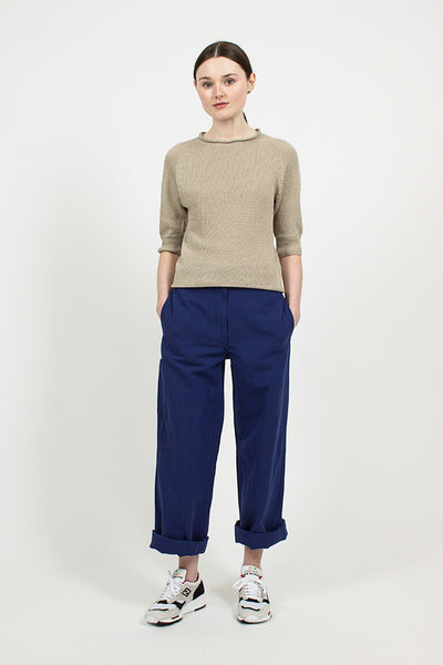 Workwear Blue Canvas Cinched Back Trouser