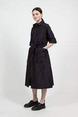 Navy Taffeta Wrap Coat