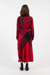 Big Plaid Worsted Wool Flannel Wrap Skirt Red/Black