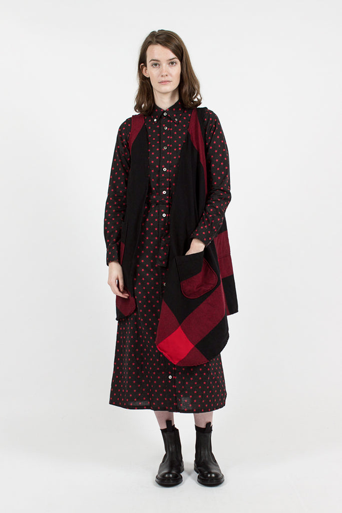 Wrap Smock Big Plaid Worsted Wool Flannel Red/Black