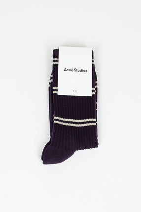 Navy/Cream Ribbed Jacquard Face Socks