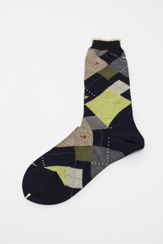 Black Argyle Sock