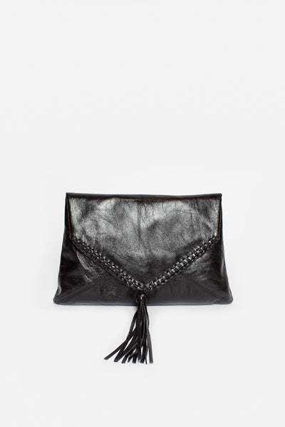 Leather Tassel Envelope Bag