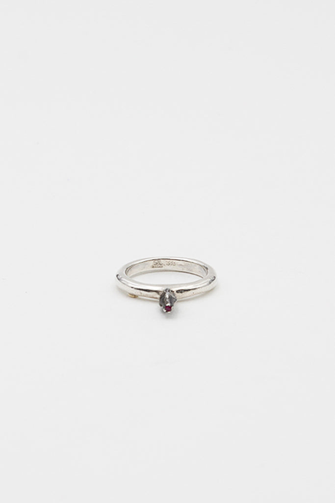 Bar Silver And Ruby Bud Ring