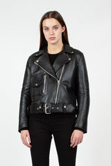 Black Boxy Biker Jacket